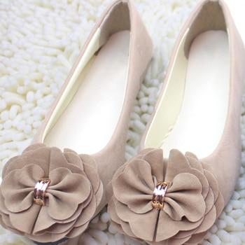 Women Flats 2018 Summer New Large Size Women Fashion Flat Suede Shoes Woman Sweet Flower Ballet Flats Shoes римские сандали