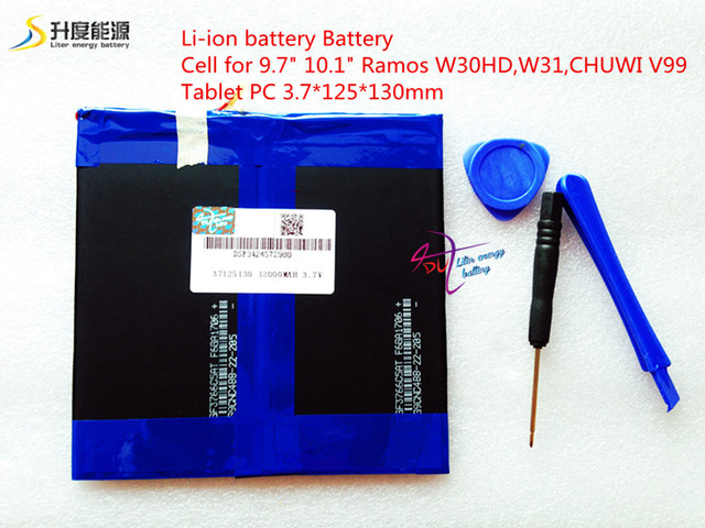3.7V12000mAH (Real Capacity) Li-ion battery Battery Cell for 9.7″ 10.1″ Ramos W30HD,W31,CHUWI V99 Tablet PC 3.7*125*130mm