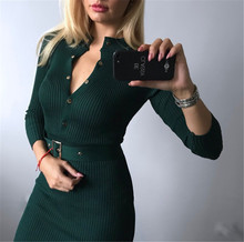 [Lakysilk]Casual Knitted Sweater Dress For Women Winter Female Long Sleeve Dress With Buttons Sexy Office Lady Maxi Pullovers