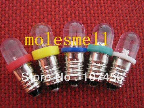 Free shipping 50pcs Red+Yellow+Blue+Green+White 9V 12V E10 1447 style Screw In Led Bulb Light(China)