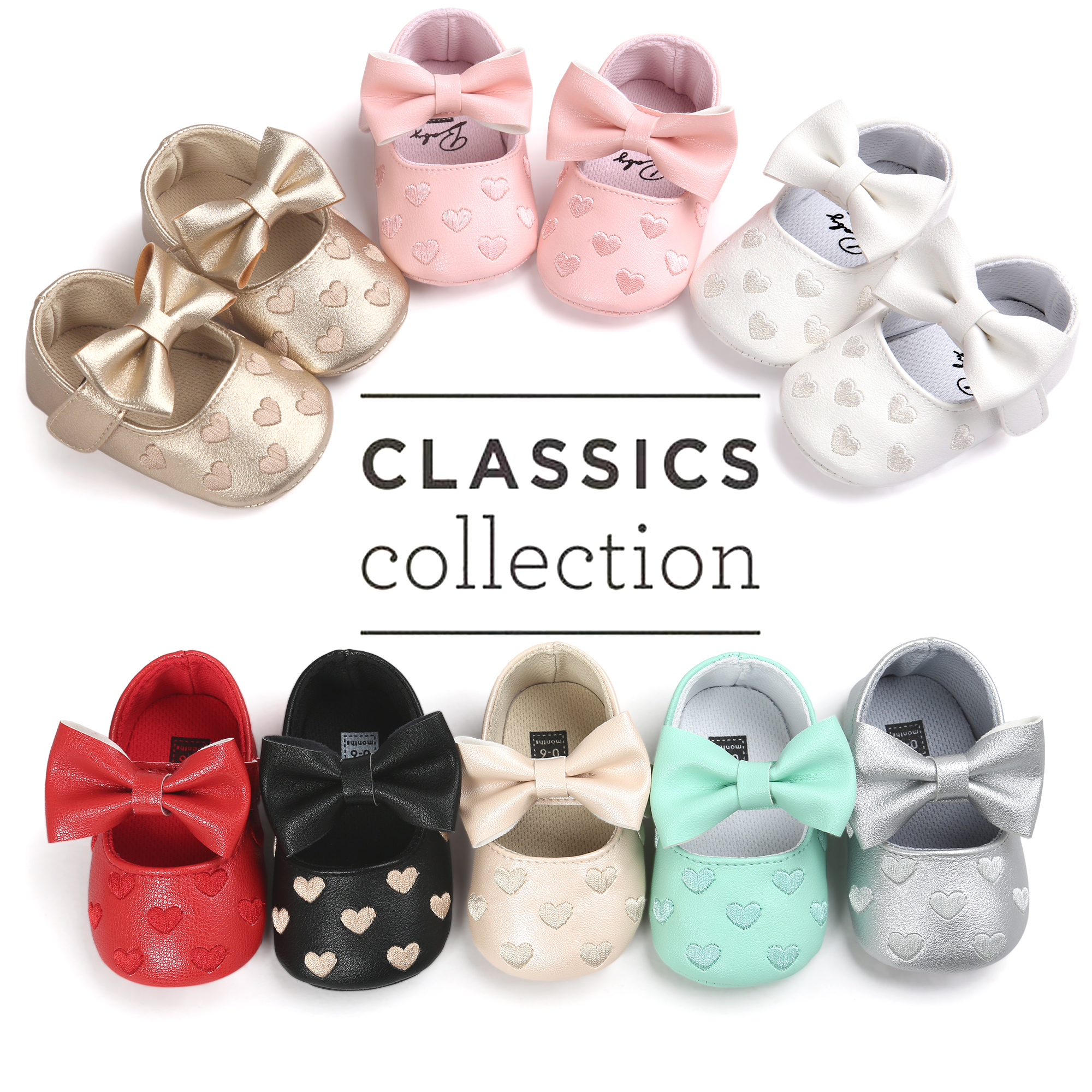 New Newborn Babe Ballet Dress Girl Toddler Shoes Crib Bowknot Single Shoes PU Leather Infant Shoes First Walkers