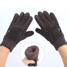 Fashion warm 2014 winter men leather gloves wrist black solid color thicken knitted pigskin Genuine S126