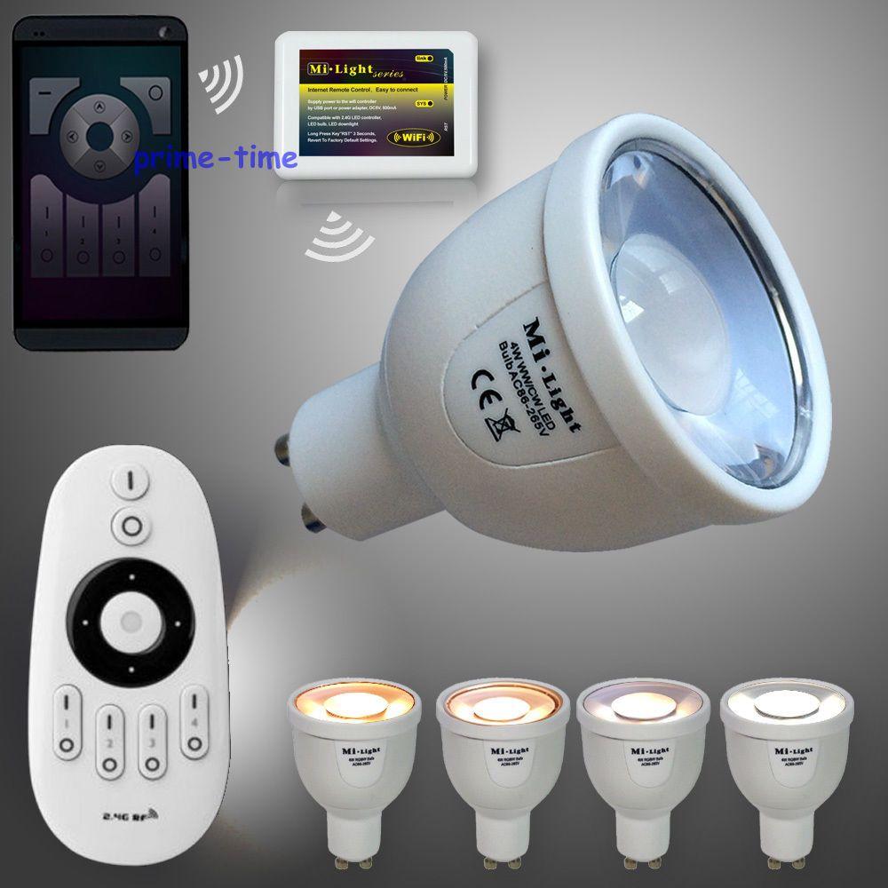 Mi.light 4-Zone RF Wireless Remote + 4pcs 2.4G GU10 5W CCT Dual White LED Bulb Color Temperature Adjustable + WiFi Adapter milight 5w gu10 dual color temperature led bulb spotlight without remote