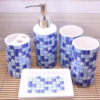 Ceramic 4 Pcs Bathroom Supply Wash Set Gargle Suit For Liquid Bottle Cup Soap Dispenser AndToothbrush