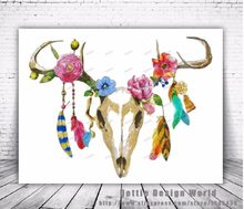 Feather Cow Skull Print watercolor Mexican Sugar Skull canvas painting wall  art poster print Picture living room home Decoration 5abdb93ca6ab