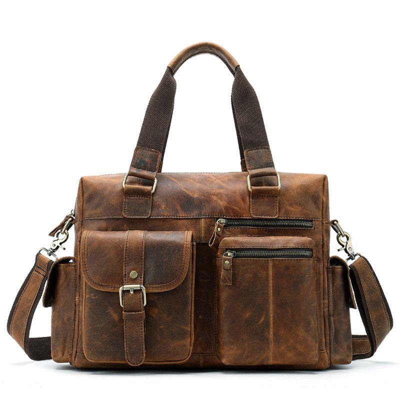 Винтажный Мужской портфель из натуральной кожи, сумка мессенджер для ноутбука, мужские многофункциональные сумки на плечо, вместительные д... - 3