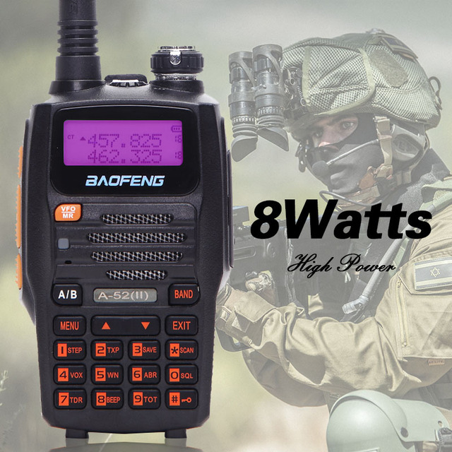 Мощная рация Baofeng A 52ii 8 Вт, двусторонняя радиосвязь, 10 километровый приемопередатчик дальнего действия, Двухдиапазонная Улучшенная рация BF A52 uv 5r uv5r
