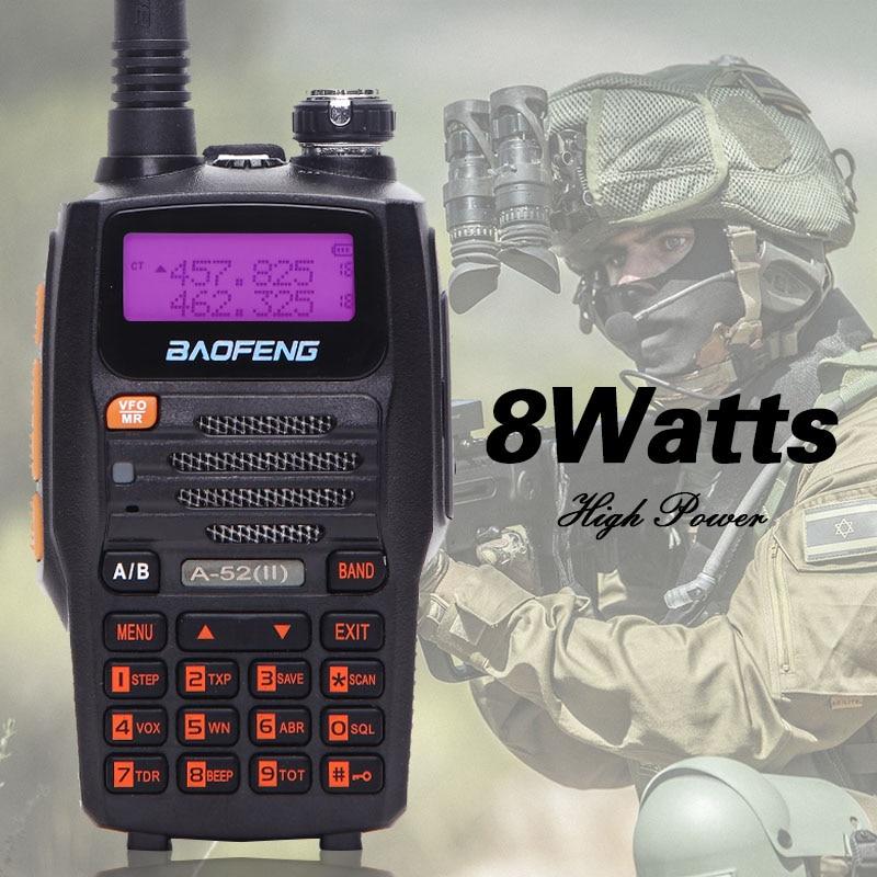 Baofeng A-52ii 8 w Puissant talkie walkie Deux-Way Radio 10 km longue portée Émetteur-Récepteur Double Bande (Mis À Jour de BF A52)