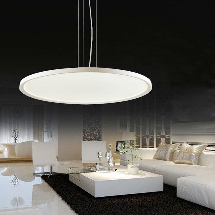 Мода высокой мощности LED подвесная люстра ультра тонкие панели загорается круглые металлические acrly подвесной светильник для гостиной спал