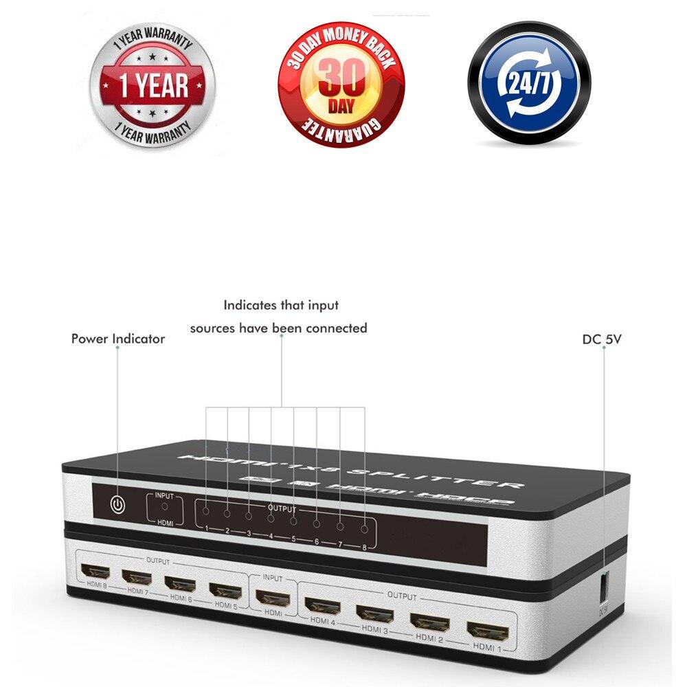 HDMI 2.0 HDCP 2.2 1x4 1X8 HDMI Splitter 1 Entrée 4/8 Sortie 4K @ 60Hz HDMI Splitter Amplificateur Switch Box Pour Apple TV PS3 DVD HDTV