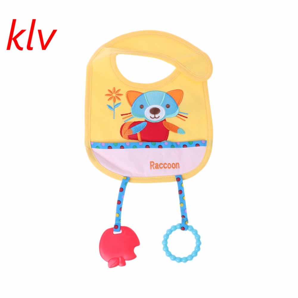 KLV Baby Bibs With Silicone Teether Animal Cartoon Cute Blend Cotton Feeding Towels