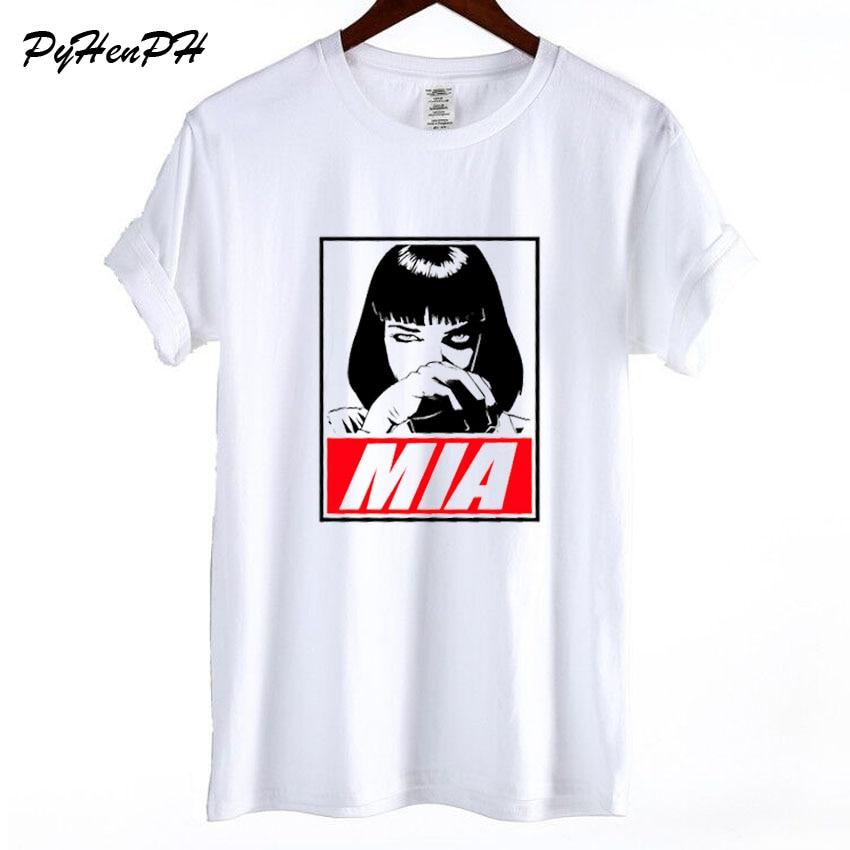 2018 New Mia Wallace Print T shirt Women Hot Movie Pulp Fiction Funny T-shirt Woman Girl Short Sleeve Cotton Tshirt Casual Tops