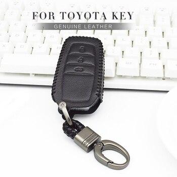 Mobil Remote Kunci Kasus Cover Untuk Toyota Rav4 Camry Avensis Chr Aygo Yaris Verso Corolla 2017 2018 Kulit Gantungan kunci Kasus Aksesoris