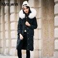 Grande Real Natural Raccon Pele 2016 Jaqueta de Inverno Nova Moda mulheres Parka Pato Branco Para Baixo Engrossar Quente Com Capuz Casaco Feminino jaqueta