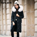 Large Real Natural Raccon Fur 2016 New Fashion Winter Jacket Women White Duck Down Parka Thicken Warm Hooded Coat Female Jacket