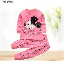 Комплект одежды для новорожденных, осенняя хлопковая одежда для маленьких девочек одежда для маленьких мальчиков с героями мультфильмов из 2 предметов комплекты детской одежды унисекс Bebes E0020