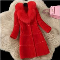 2017 autumn and winter new Korean version of the female long sheep shears imitation fox fur collar Slim stylish temperament fur