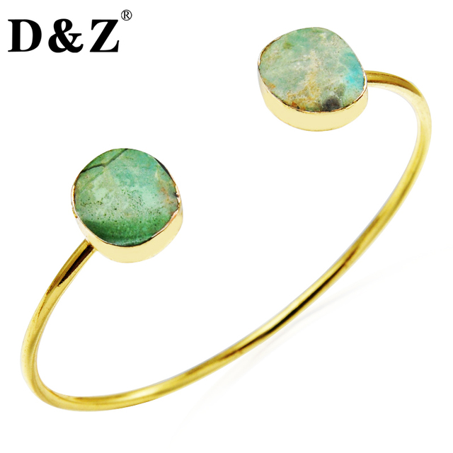D&Z Handmade Gold Plated Double Natural Green Agate Carnelian Cuff Bangle Bracelets for Women Jewelry