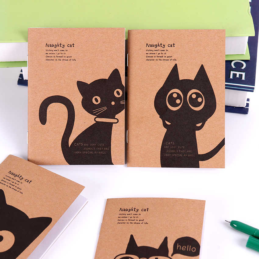1PC Mini Kawaii Cat and Circus Journal Diary Notebook Blank Kraft Paper Vintage Retro Notepad Book for Kids Stationery Gift