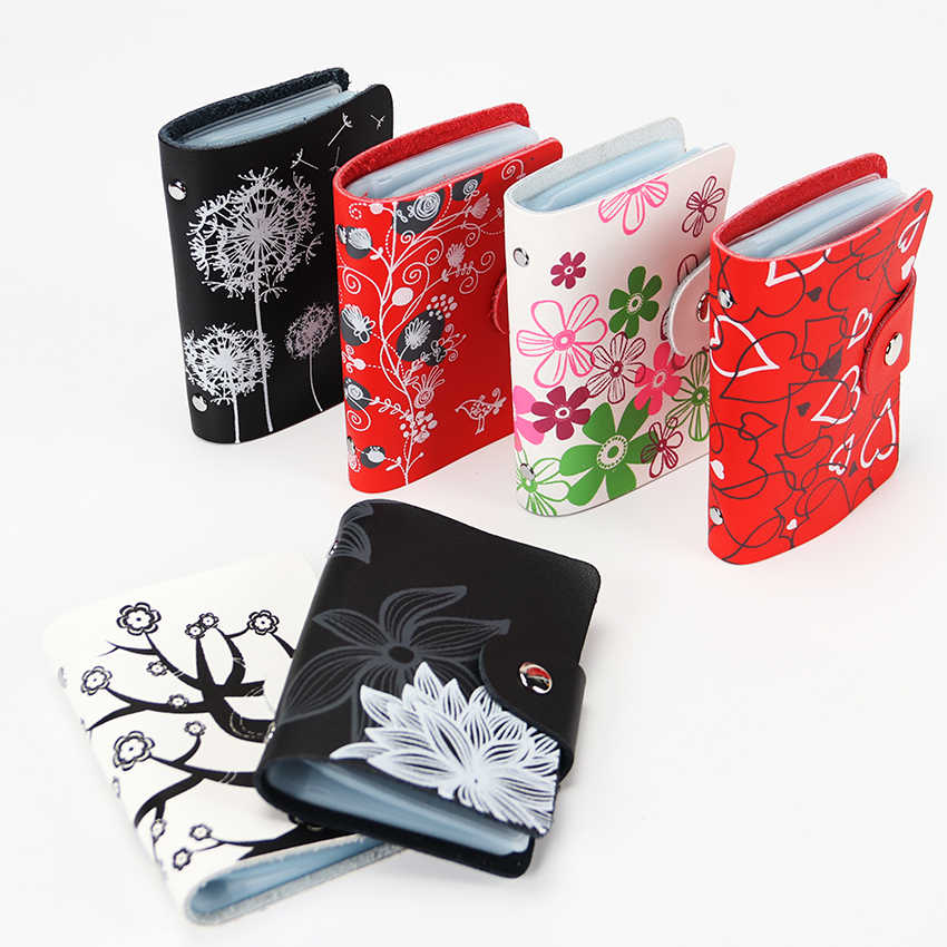 Fashion Leather Print Credit Card Bag Holder Women Travel Cards Wallet 26 Card Slot  Business ID Card Holders
