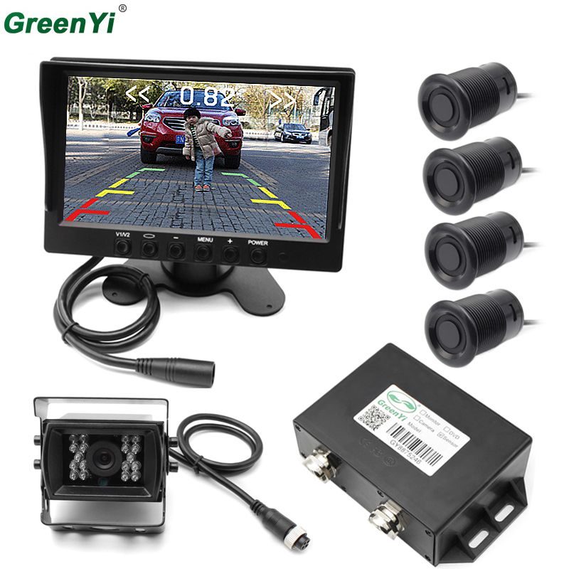 GreenYi Bus Truck Van Caravan Trailers Camper Video Parking Sensor Reverse Backup Radar Assistance IR Rear View Reverse Camera