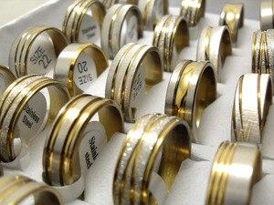 Image 4 - 100pcs זהב קו למעלה לערבב גברים של אופנה נירוסטה טבעות איש מגניב תכשיטי מכירה לוהטת סיטונאי הרבה תכשיטים