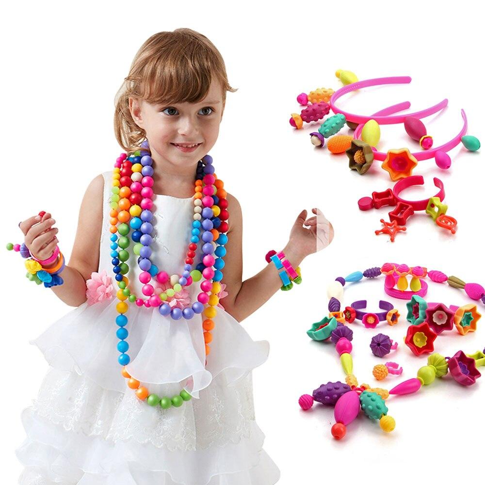 350 cái DIY Pop Beads Đồ Chơi Kẹo Đường Jewelry Puzzle Đồ Chơi Làm Bằng Tay Nhựa Pop Đính Cườm Lắp Ráp Các Khối cho trẻ em Gái