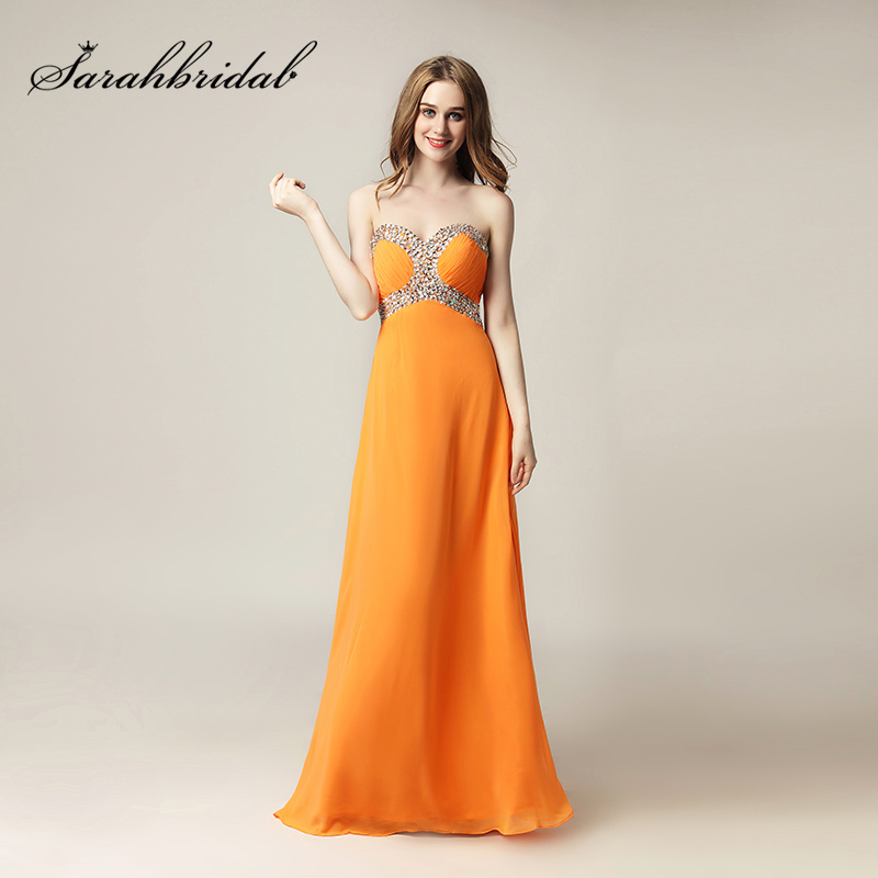 Sexy Sweetheart A Line Prom Dresses Long Empire Chiffon Pleat Sequined Evening Party Gown Cheap Prom