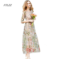 Ftlzz Elegant Grace Vintage Dress Women Embroidery Vestidos Summer Slim Beach Long Dress Three Quarter Design