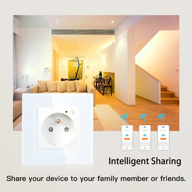 16A FR WiFi Smart Wall Socket Outlet Glass Panel French Smart Life Tuya Remote Control Works with Echo Alexa Google Home in Electrical Sockets from Home Improvement