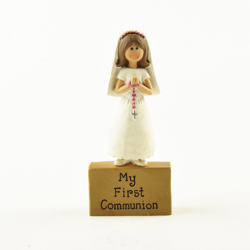 Girls First Communion Holy Souvenir Gift Christmas Decoration Accessories Ark Of Covenant Lady Resin Figurines With White Dress
