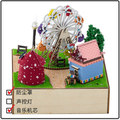 NEW Playground Ferris Wheel DIY dolls house miniature accessories wooden dollhouse toys for kids dust cover/ music movement