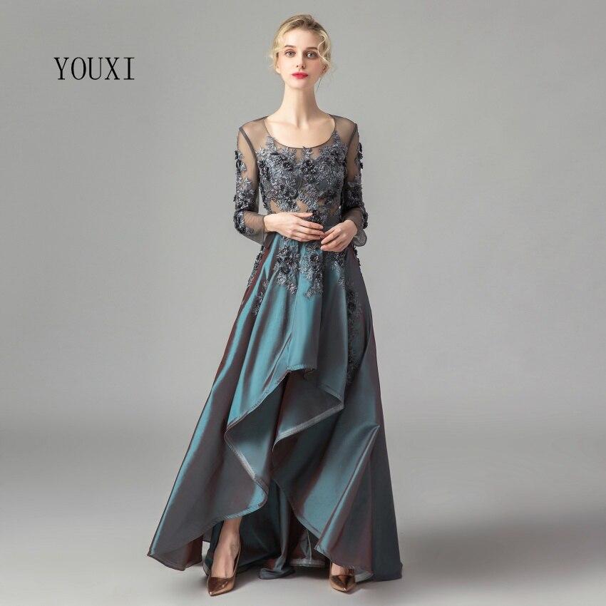 Gorgeous Long Sleeves Robe De Soiree Satin Lace   Prom     Dresses   2019 High Low Evening Gowns Vestido de Noiva Maxi   Dresses