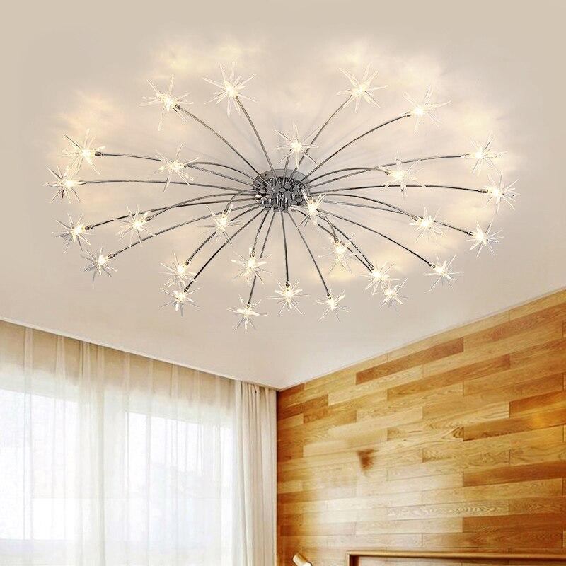 modern sky star led crystal ceiling light sitting room warm bedroom restaurant Plafondlamp Lighting Suspension Lustre Cristal