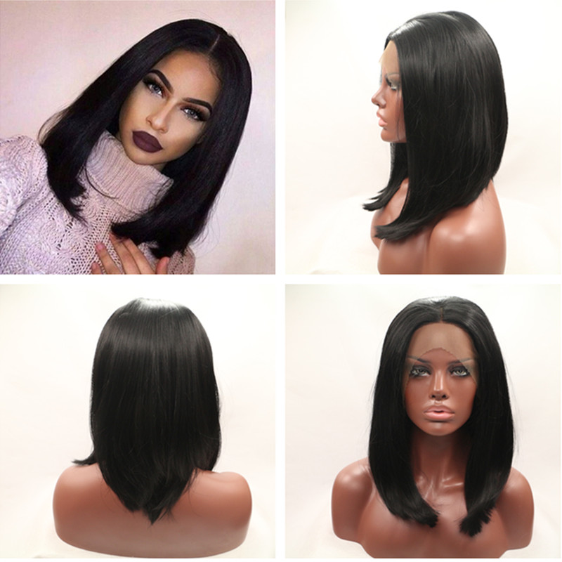 Long Bob Hairstyle Middle Part Glueless Straight Wigs For Black