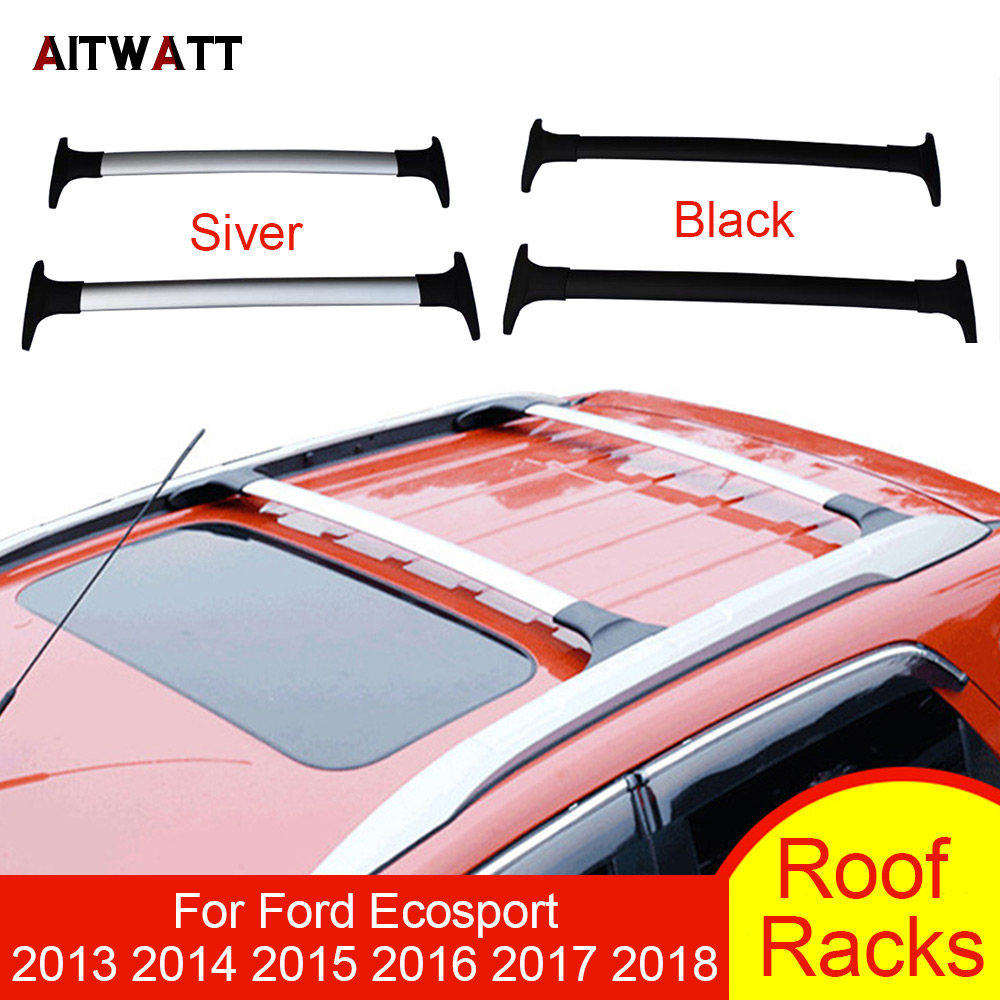 Roof Rack For Ford Ecosport 2013 2014 2015 2016 2017 2018 Aluminum Alloy Side Bars Cross Rails Luggage Carrier Rack Car Styling new for nissan qashqai j11 2014 2015 2016 silver roof rack side rails bars luggage carrier trim
