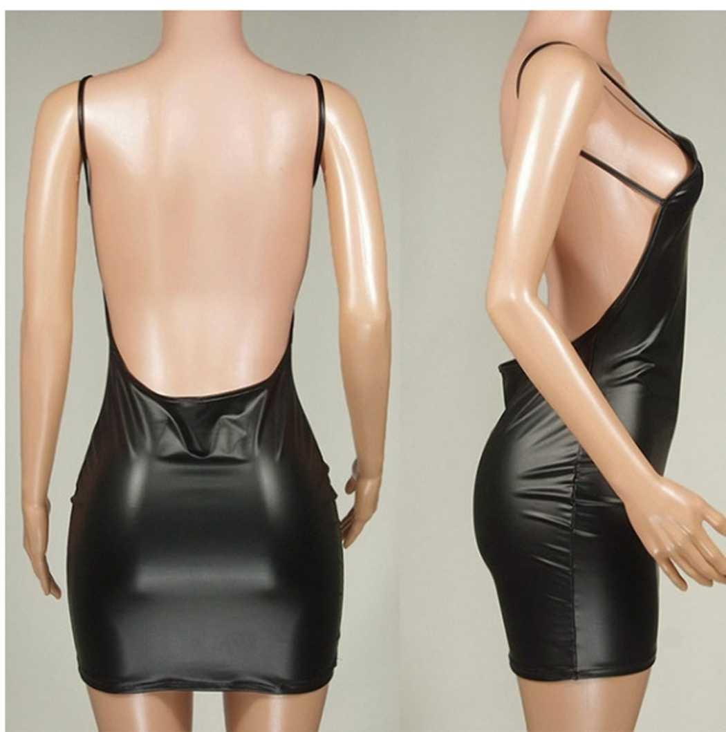 Mode Faux PU cuir Mini robes femmes noir Sexy moulante robe Spaghetti sangle dos nu robe parti Club paquet robes