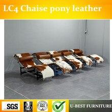 U-BEST пони кожи Ле Корбюзье lc4 шезлонг, кожаный обеденный полулежа Basculant слинг LC4 шезлонг