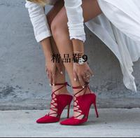 Name Brand Lace Up Slingback High Heel Women Sandals Fashion Red Wedding Party Dress Shoes Woman