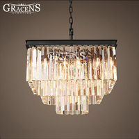 Square Crystal Chandeliers Lightings Authentic Crystal Lamp Fixture Hanging Light Ceiling Chandeliers Lamp For Home Decora