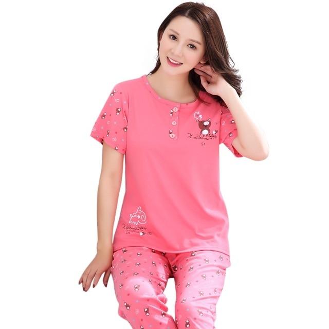 b67684275fbd5 Hot Sale Short Sleeved Ladies Pajamas Set Cotton Pyjamas Women Pijama  Cartoon Bear Print Sleepwear Homewear Nightgown M-3XL