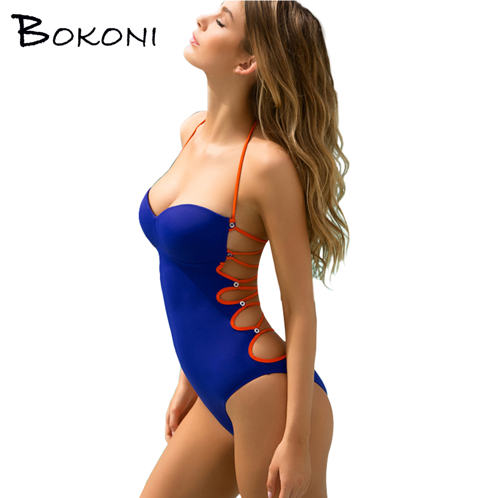 2018 Sexy Solid Swimwear Women Blue One Piece Swimsuit Push Up Bathing Suit female Bandage Bodysuit Monokini Beachwear Swimsuits tequila por favor letter custom swimsuit one piece swimwear bathing suit women sexy bodysuit funny swimsuits jumpsuits rompers