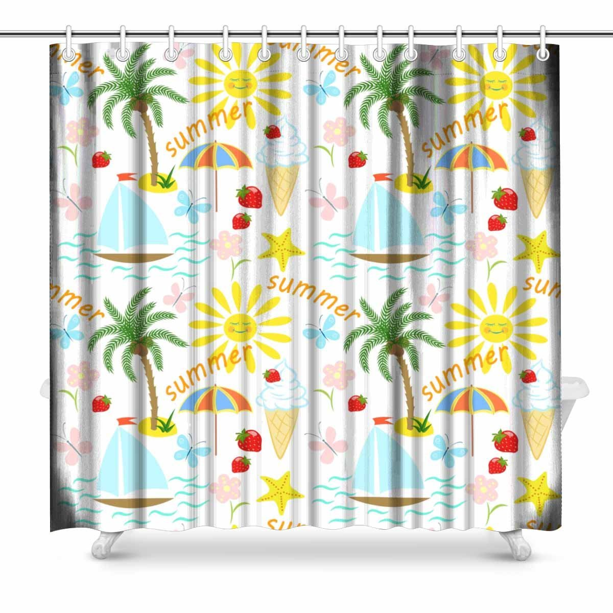 Us 16 99 Aplysia Summer Vacation Palm Tree Sun Sailing Ice Cream Butterflies Strawberries Bathroom Decor Shower Curtain Set With Hooks In Shower