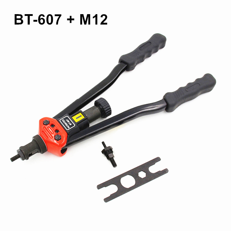 free shipping 440mm 17 inch hand riveter pull rivet nut riveting tools only with one die of M12 BT-607 carton package 1pcs ergonomic hand squeeze pop rivet gun tool riveter poprivet