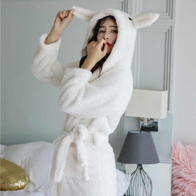 Women s Cute Carton Rabbit Hooded Sashes Flannel Robes Soft Warm Coral  Fleece Long Sleeve Female Bathrobe 5f6656373