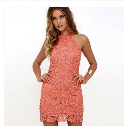 d012fd23f28a 2019 New women Dress Women Halter Slim Pencil Sexy Sleeveless Amazon Lace Dress  Summer Dress