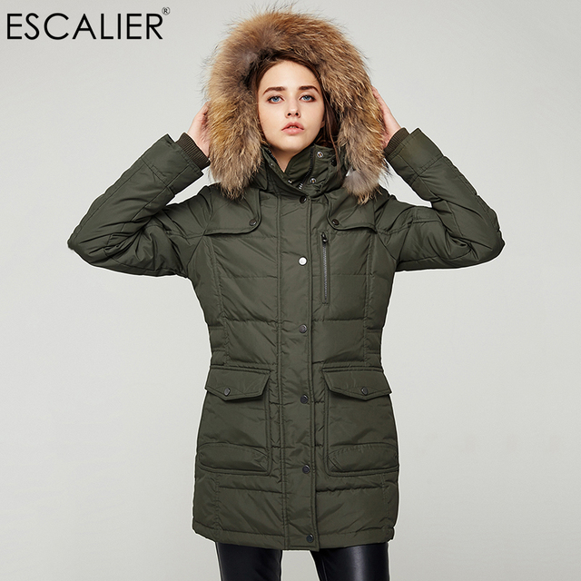 b89279b8c0f7 Escalier Waterproof Down Coats Women Long Parka Removable Raccoon Fur Hooded  Winter Thick long type Pockets