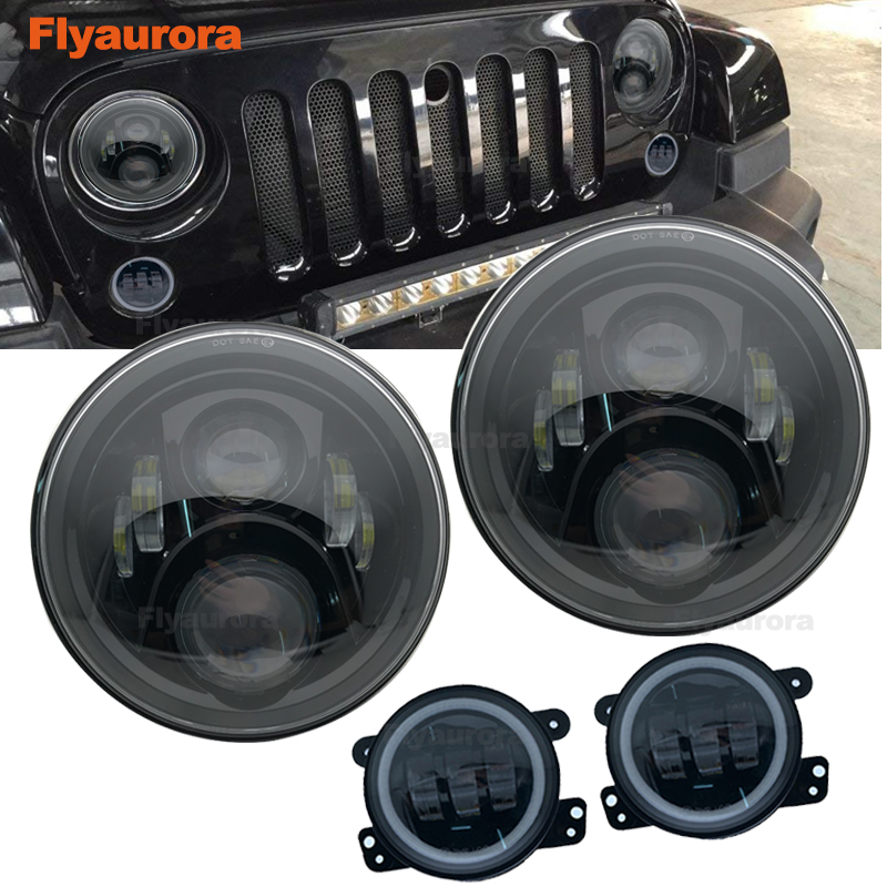 Set 60W 7inch LED Headlights With 4 Inch LED Fog Light White DRL Halo Ring For Jeep Wrangler 97-2017 JK TJ For Jeep Compass