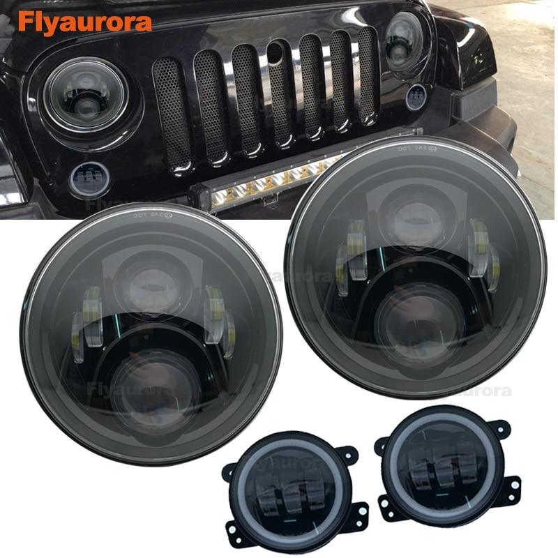 Ensemble 60W 7 pouces LED phares avec 4 pouces LED antibrouillard blanc DRL Halo anneau pour Jeep Wrangler 97-2017 JK TJ pour jeep boussole
