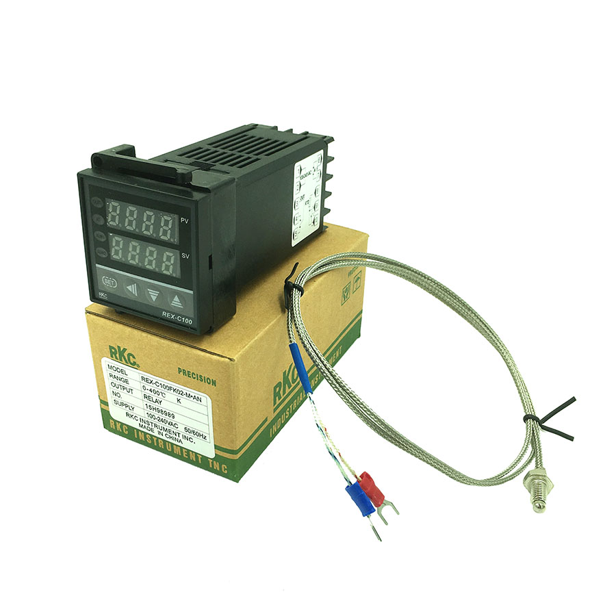 REX-C100 Digital PID Temperature Control Controller Thermostat Relay output 0 to 400C with K-type Thermocouple Probe Sensor digital thermostat 220v temperature controller thermocouple sensor termostato digitale thermometre estacion metereologicamh1210a